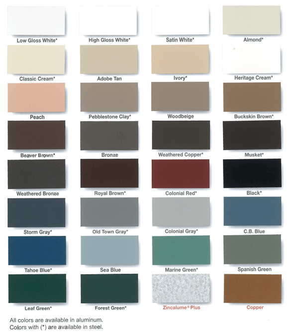 South Shore Gutter Color Chart